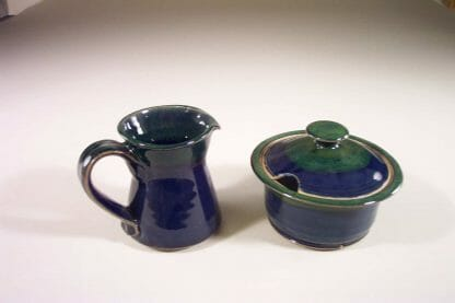 Creamer or Sugar Bowl with Lid Smooth Design in Dark Blue and Green Glaze