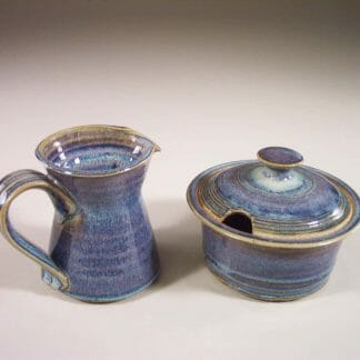 Creamer and Sugar Bowl with Lid Smooth Design in Rutile Blue Glaze