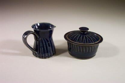 Creamer and Sugar Bowl with Lid Design 2 in Dark Blue Glaze