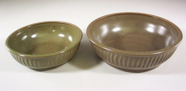 Low Bowls, small and regular sizes, Fluted Design in Green Glaze