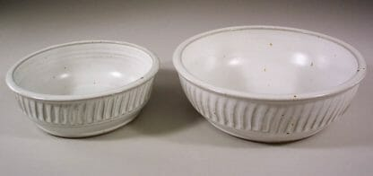 Low Bowls, small or regular sizes Fluted Design in White Glaze
