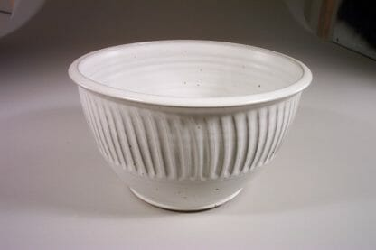 Bowl Deep Large Fluted Design in White Glaze