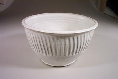 Bowl Deep Large Fluted Design in White Glaze