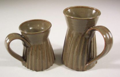 Mug, Small or Large Sizes, Fluted Design in Green Glaze
