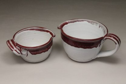 Spouted Bowl with Handle, in Smooth Design Small or Large Size in White and Red Glaze