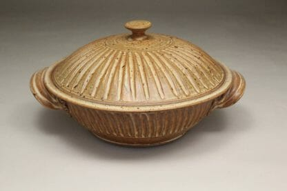 Large Casserole with Lid Fluted Design in Spodumene Glaze