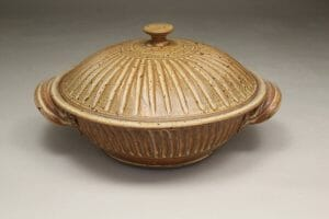 Casserole with Lid medium Fluted Design in Spodumene Glaze