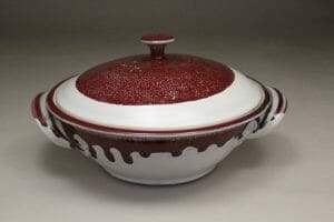 Medium Casserole with Lid Smooth Design in White with Red Glaze