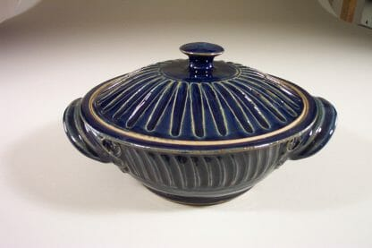 Casserole with Lid, Medium, Fluted Design in Dark Blue Glaze