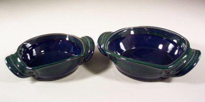 Open Casseroles, Medium or Small, Smooth Design, in Dark Blue and Green Glaze