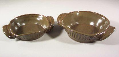 Open Casserole, Small or Medium, Fluted Design, in Green Glaze