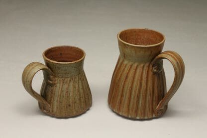 Mug, Small or Large Sizes, Fluted Design in Spodumene Glaze
