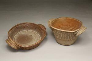 Open Casseroles, Low and Deep, Fluted Design in Spodumene Glaze