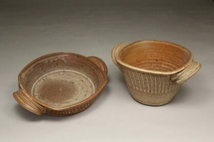 Open Casseroles, Low and Deep, Fluted Design in Spodumene Glaze