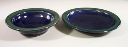 Salad Bowl or Pasta Bowl in Dark Blue and Green Glaze