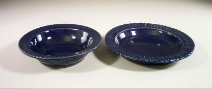 Salad Bowl (left) or Pasta Bowl (right) Fluted Design in Dark Blue Glaze