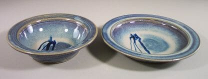 Salad Bowl and Pasta Bowl Smooth Design in Rutile Blue with Dark Blue Stripes