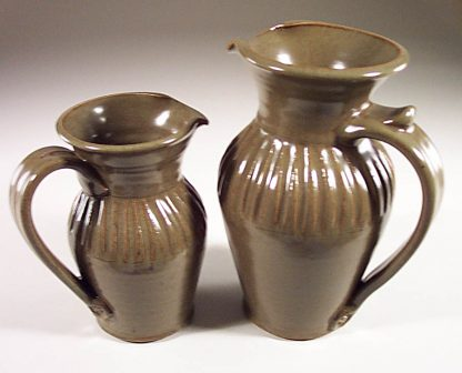Pitcher, Small or Large, Fluted Design in Green Glaze