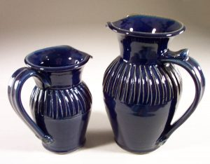 Pitcher, Small and Large, Fluted Design in Dark Blue Glaze