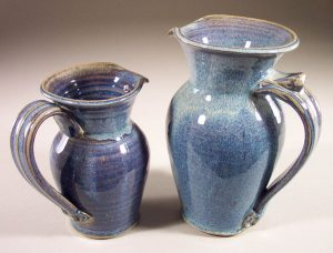 Pitcher, Small and Large, Smooth Design in Rutile Blue Glaze