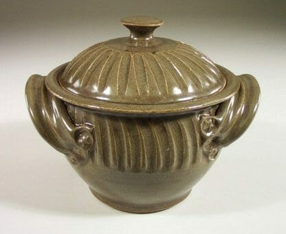 Small Casserole 1 with Lid Fluted Design in Green Glaze