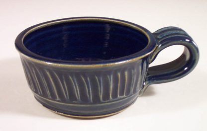 Soup Mug, Fluted Design in Dark Blue Glaze