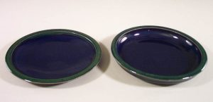 Small Dinner Plate or Salad Plate Smooth Design in Dark Blue and Green Glaze