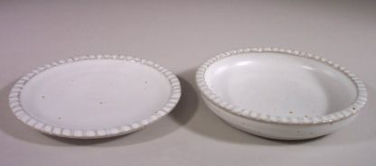 Small Dinner Plate and Salad Plate Fluted Design White Glaze