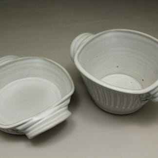 Open Low or Open Deep Casserole, Fluted Design in White Glaze