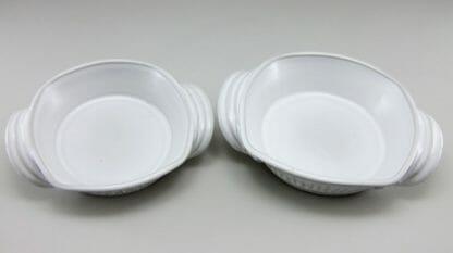 Open Casseroles, Small and Medium, Fluted Design, White Glaze
