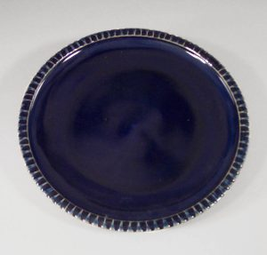 Platter Small Fluted Design in Dark Blue Glaze