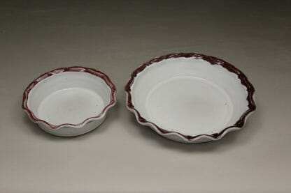 Pie Plates Small or Large Sizes Smooth Design in White and Red Glaze with Rippled Rim