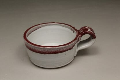 Soup Mug Smooth Design in White and Red Glaze