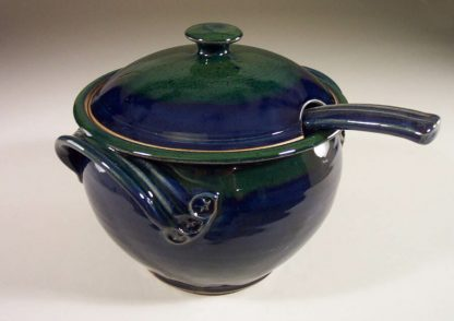 Soup Tureen with Ladle, Smooth Design in Dark Blue and Green Glaze