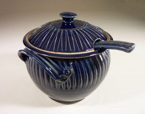 Soup Tureen with Lid and Ladle, Fluted Design in Dark Blue Glaze