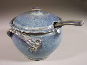 Soup Tureen with Ladle, Smooth Design in Rutile Blue Glaze