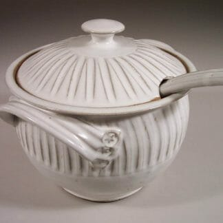 Soup Tureen with Lid and Ladle Fluted Design in White Glaze