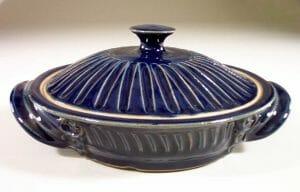 Tortilla Warmer, Fluted Design in Dark Blue Glaze