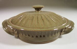 Tortilla Warmer, Fluted Design in Green Glaze