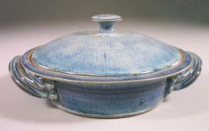 Tortilla Warmer, Smooth Design in Rutile Blue Glaze