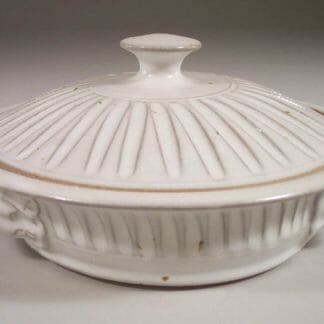 Tortilla Warmer, Fluted Design in White Glaze