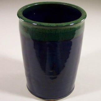Utensil Holder Smooth Design in Dark Blue and Green Glaze