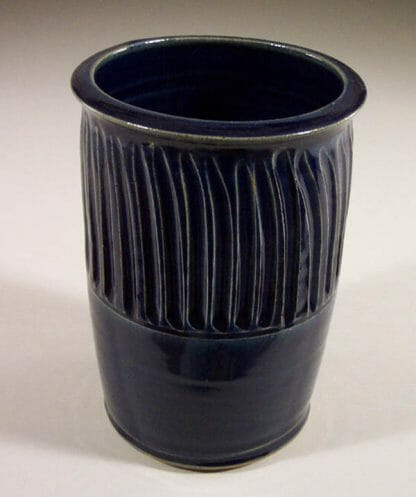 Utensil Holder Fluted Design in Dark Blue Glaze