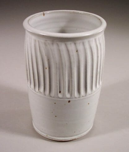 Utensil Holder Fluted Design in White Glaze