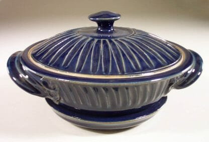 Microwave Vegetable Steamer Fluted Design in Dark Blue Glaze