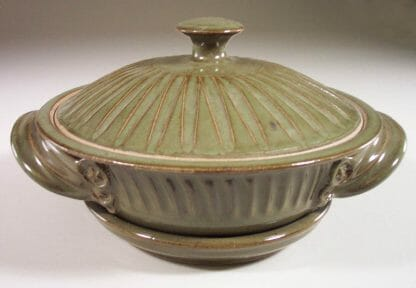 Microwave Vegetable Steamer Fluted Design in Green Glaze
