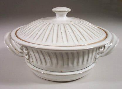 Microwave Vegetable Steamer Fluted Design in White Glaze