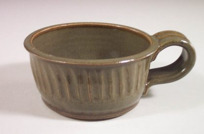 Soup Mug, Fluted Design in Green Glaze