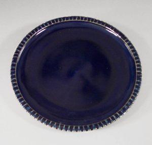 Platter Small Fluted Design in Dark Blue Glaze