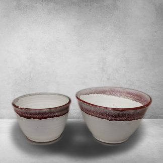 Deep Bowls, Small and Medium Sizes, Smooth Design in White and Red Glaze